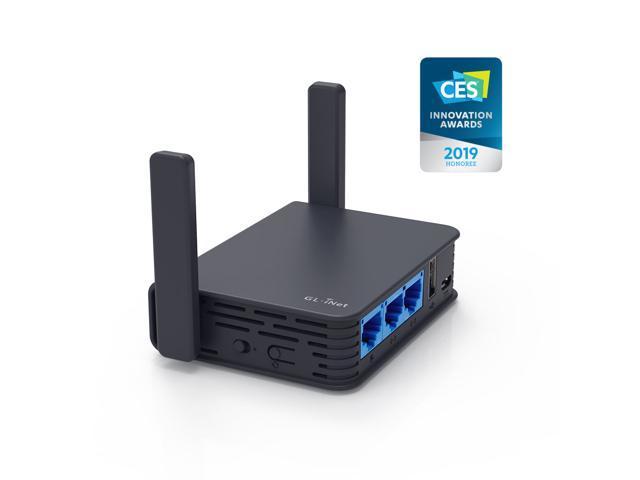 GL iNet GL-AR750S-Ext Gigabit Travel AC Router (Slate),  300Mbps(2 4G)+433Mbps(5G) Wi-Fi, 128MB RAM, MicroSD Support, OpenWrt/LEDE  pre-Installed,