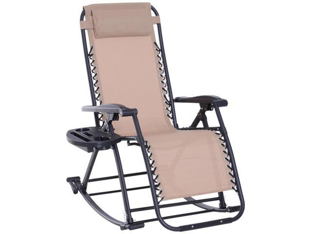 Incredible Outsunny Folding Zero Gravity Rocking Lounge Chair With Cup Holder Beige Ocoug Best Dining Table And Chair Ideas Images Ocougorg