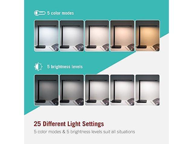 TaoTronics LED Desk Lamp with USB Charging Port, (2700 - 6500K) 5 Color  Temperatures & 5 Brightness Levels, Soft Night Light Mode, 1 Hour Timer,  12W,