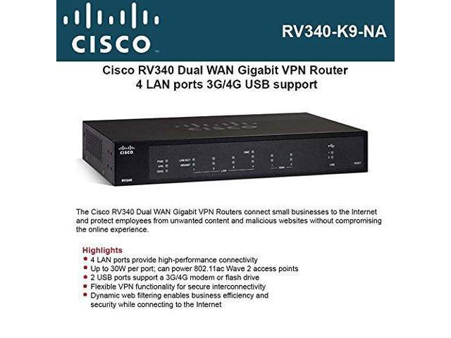 Cisco RV340-K9-NA Dual WAN Gigabit Router - Newegg com