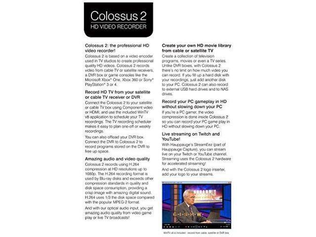 Hauppauge Colossus 2 PCI Express Internal 1080p HD-PVR - Newegg com