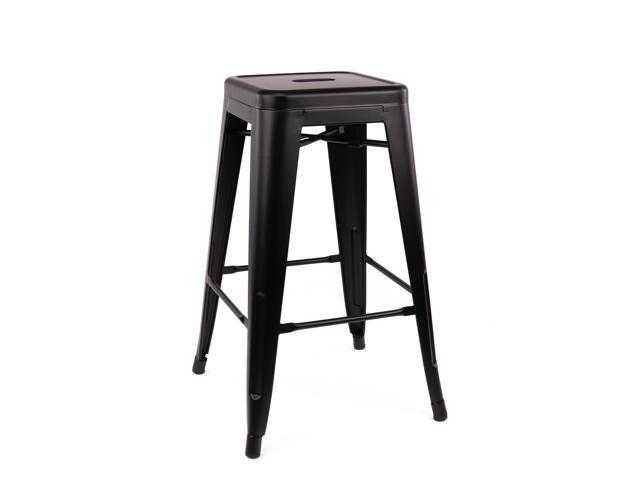 Pleasant Dreux Matte Black Steel Stackable Counter Stool 26 Inch Set Uwap Interior Chair Design Uwaporg