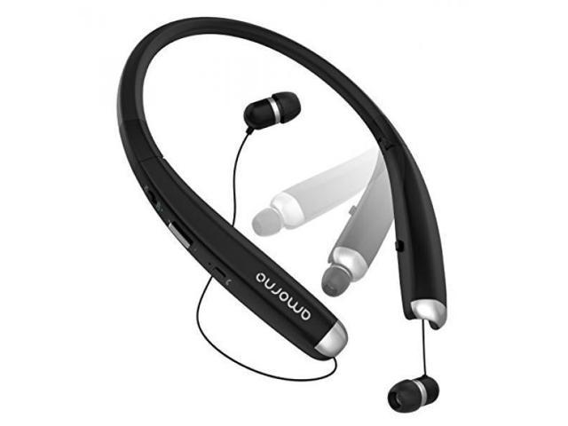 Foldable Bluetooth Headphones, AMORNO Wireless Neckband Sports Headset with  Retractable Earbuds, Sweatproof Noise Cancelling Stereo Earphones with Mic