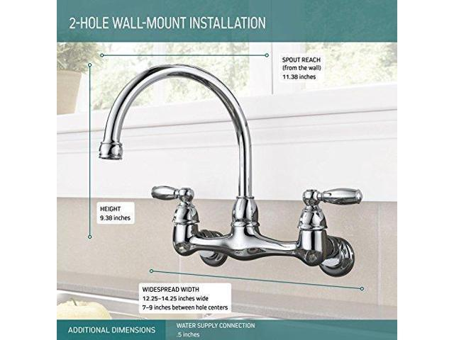 Peerless P299305lf Choice Two Handle Wall Mounted Kitchen Faucet Chrome Kitchen Faucets Newegg Com