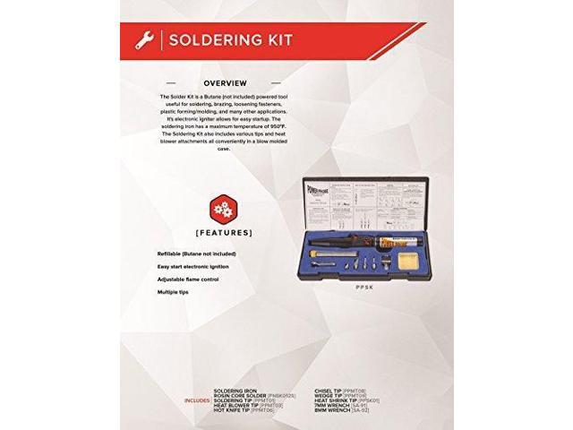 POWER PROBE Butane Soldering Kit (PPSK) [Automotive Diagnostic Car Test  Tool, Easy Start Electronic Ignition, Adjustable Flame, with Multiple Tips]  -