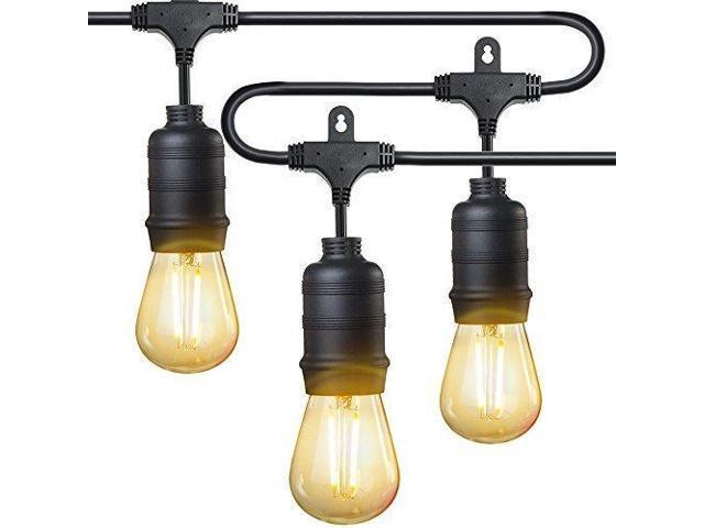 Taotronics Led Outdoor String Lights 50 Ft Commercial Grade 16 X S14 2w Bulbs Connect Up To 30 Strands Etl Roved