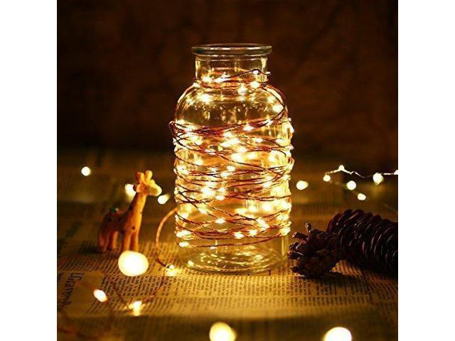 Le 200 Led 65ft Copper Wire String Lights Warm White Starry Fairy String Lights Waterproof Firefly Lights For Indoor Outdoor Decoration For Home