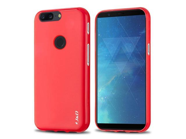 newest 7436d 2b1e3 J&D Case Compatible for OnePlus 5T Case, [Drop Protection] [Slim Cushion]  Shock Resistant Protective TPU Slim Case for OnePlus 5T Bumper Case - Red -  ...