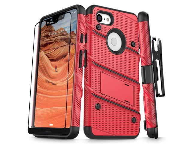 more photos 02cbb 0f938 Zizo Bolt Series Compatible with Google Pixel 3 XL Case Military Grade Drop  Tested with Full Glass Screen Protector Holster and Kickstand Red Black -  ...