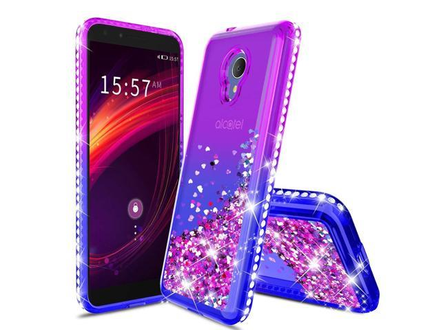 Case for Alcatel 1X Evolve Case/Alcatel IdealXtra/Alcatel TCL LX Glitter  Liquid Quicksand Floating Shiny Sparkle Flowing Bling Diamond Luxury Clear