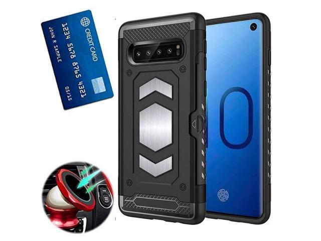 best service d3c85 2713a S10 Case with Card Holder : S 10 Phone Cases with Metal Back for Magnetic  car Mount : Samsung Galaxy S10 case with Card Holder Slot Wallet Full ...