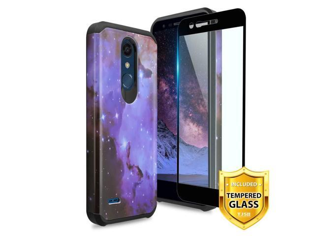 TJS LG K10 2018/LG K30/LG Premier Pro LTE/LG Harmony 2/LG Phoenix Plus  Case, [Tempered Glass Screen Protector] Dual Layer Hybrid Shockproof  Protection