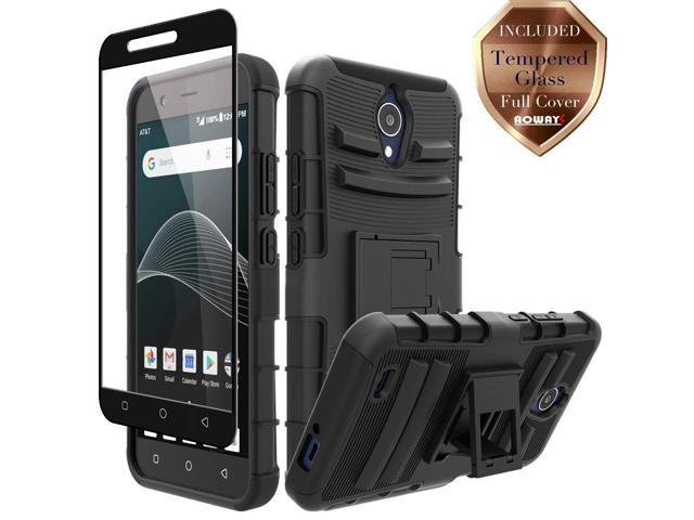 AT&T AXIA QS5509A Case, Cricket Vision DQON5001 Case, Aoways Tempered Glass  Screen Protector, Heavy Duty Hard PC Back Cover Soft TPU Inner Kickstand