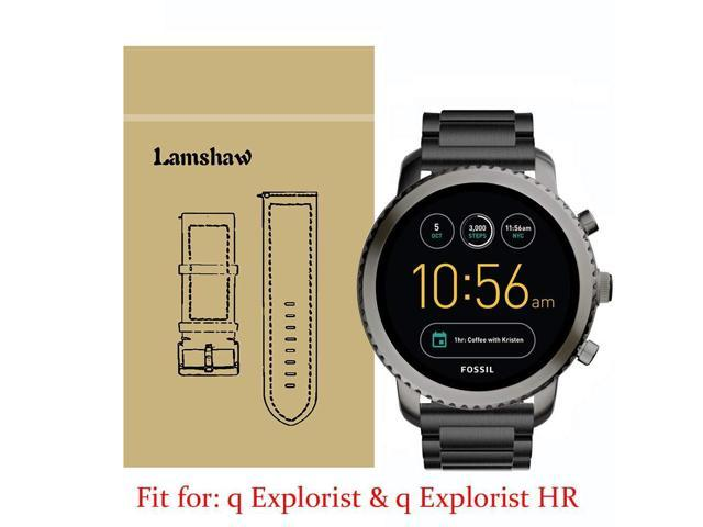 Lamshaw Smartwatch Band for Fossil Q Explorist, Stainless Steel Metal  Replacement Straps for Fossil Q EXPLORIST Gen 3 / Q EXPLORIST HR Gen 4  (Black) -