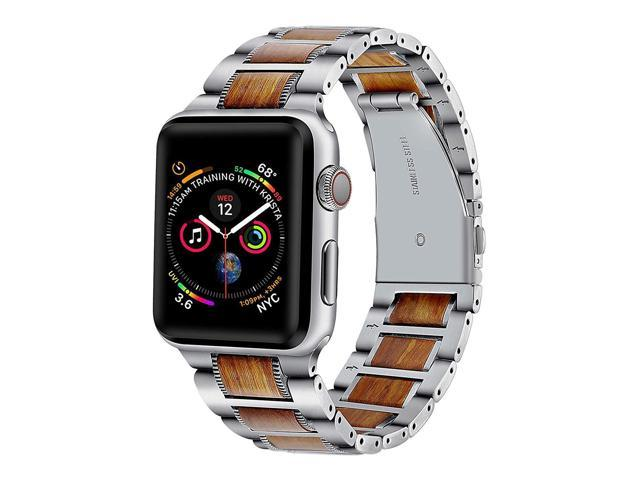 Libra Gemini for Apple Watch Band 38mm Wood iWatch Band for Steel Wood  Replacement Strap with Stainless Steel Metal Clasp for Apple Watch  Series/3/2/1