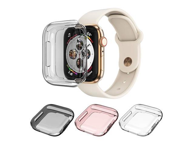 timeless design 50ac9 55dbe Monoy Case Apple Watch Series 4 Screen Protector 44mm, [3-Pack Colorful]  All Around Soft TPU Protective Cover Case iWatch 4 44mm (Clear+Grey+Rose ...