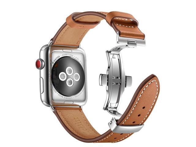 5db2e9e6bf670b KeBitt Women Men Watch Band Compatible with Apple Watch Series 4 3 2 1,  Wear Genuine Leather iWatch 4 Bands Double Needle Metal Butterfly Buckle  Folding ...