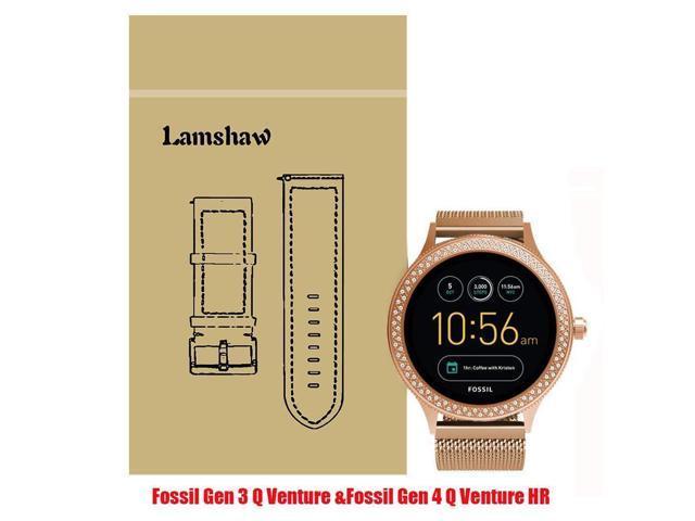 Lamshaw Smartwatch Band Fossil Q Venture/Fossil Gen 4 Q Venture HR,  Milanese Metal Stainless Steel Mesh Replacement Strap GEN 3 SMARTWATCH - Q  VENTURE
