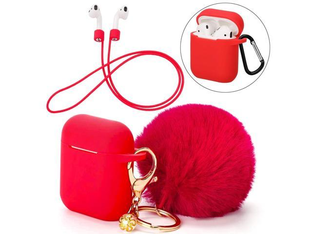 designer fashion 59925 d49c4 Protective Silicone Cover Skin Compatible with Apple Airpods Charging –  Drop Proof Case Cover with Fluffy Pompom Keychain and Anti-Lost Strap ...