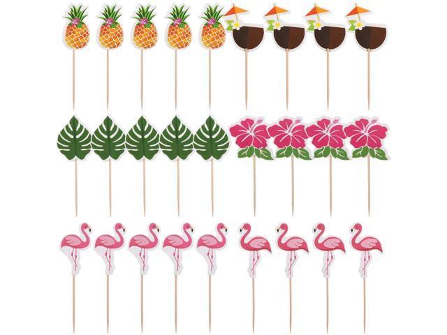 Yaomiao 96 Pieces Tropical Hawaiian Cupcake Toppers Luau Summer