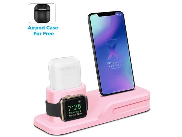 new concept 8b9ed ed5b6 LEWOTE 3in1 Silicone Charging Stand Dock Compatible for Apple  Watch/Airpods/iWatch/iPhone X 8 7 6 Plus[Gift a Airpods Case] (Pink) -  Newegg.com