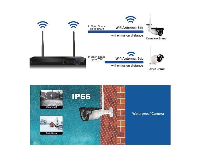CCTV Surveillance Security System Wireless 4CH 1080P WiFi NVR Kits + 4Pcs  1080P Wireless Waterproof IP Cameras, Support Microphone, Night Vision, APP