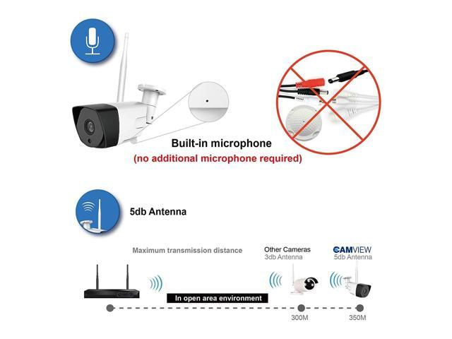 Wireless Security Camera System with Audio Built-in Microphone, CamView 4CH  1080P Wireless Network Video Recorder with 1TB Hard Drive, 4PCS 1080P