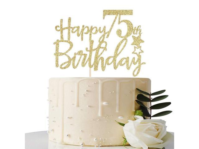 MaiCaiffe Gold Glitter Happy 75th Birthday Cake TopperHello 75 Cheers To Years