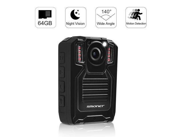 1296P Police Body Camera with 64GB Memory,SMONET Waterproof Body Worn Camera with 2 Inch Display,Night Vision,Wide Angle for Law Enforcement and Audio Video Photo Recording