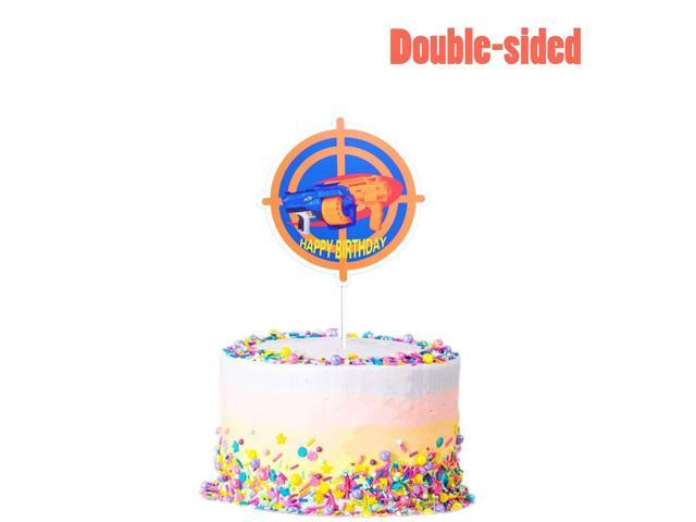 Cake Topper For Nerf Party Target Gun Happy Birthday Decorations Toppers