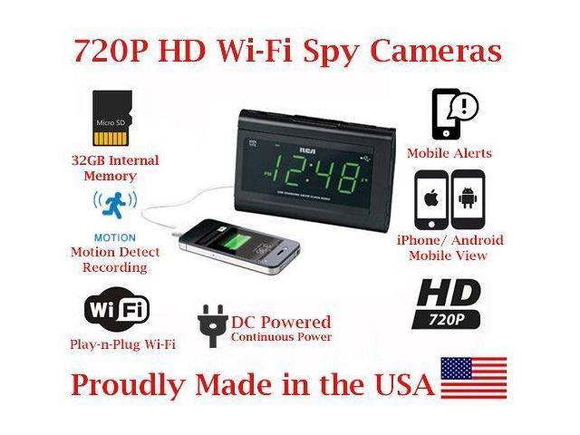 SecureGuard 1080P HD WiFi Wireless IP Alarm Clock Radio Hidden Security  Nanny Cam Spy Camera with 32GB Internal Memory - Newegg com