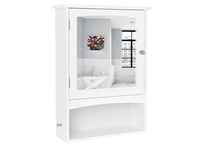 Bathroom Mirror Cabinet W Led Lights Adjustable Shelves: VASAGLE Mirror Cabinet, Bathroom Wall Storage Cabinet With