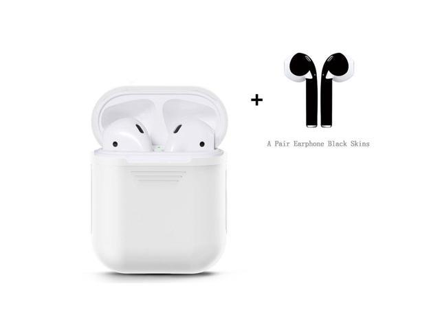 AKeel AirPods Case Protective Silicone Thin Slim Cover and Stylish  Protective Skins Bundle for Apple Airpods (Clear Case & Matte Black Skin)  (White) -