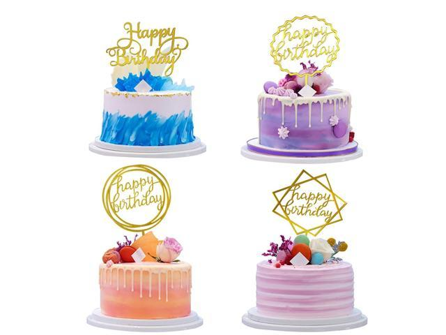 Happy Birthday Cake Topper Gold Cupcake Toppers Set 4 Pieces Acrylic With