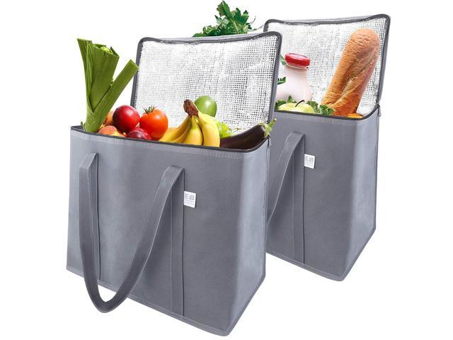 a23e4fdb50d4 EFB Solutions Insulated Reusable Grocery Shopping Bags Long Handles Premium  Quality Extra Large 16 x 13 x 9 Foldable Insulation Cooler Tote Bag   2 ...