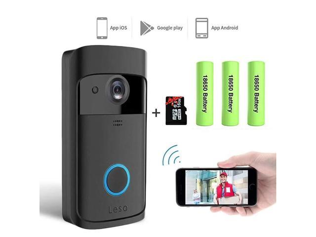 Leso Smart Wireless WiFi Video Doorbell HD Security Camera with PIR Motion  Detection Night Vision Two-Way Talk and Real-time Video Suitable 16GB