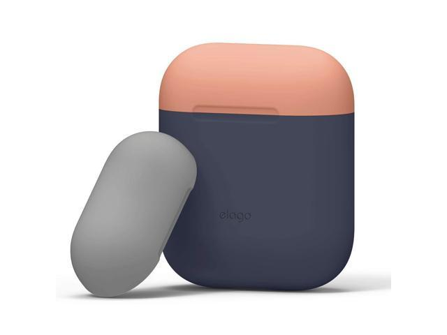 on sale 8f2da c937e elago AirPods Duo Case [Body-Jean Indigo/Top-Peach, Medium Grey] -  [Compatible with Apple AirPods 1 & 2; Front LED Not Visible][Supports  Wireless ...