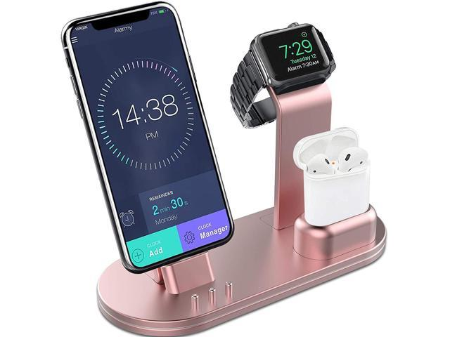 reputable site 45b83 4f48b OLEBR Charging Stand Aluminum AlloyCharging Docks Suitable for Apple Watch  Series 4/3/2/1/ AirPods/iPhone Xs/iPhone Xs Max/iPhone XR/X/8/8Plus/7/7 ...