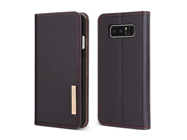 Case Compatible with Samsung Galaxy Note 8, BENTOBEN Genuine Leather Wallet  Slim Flip Cover with Kickstand 3 Credit Card Holder Cash Slots Protective