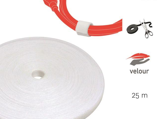 1cb2609dc Cable Managment Hook and Loop Tape, 82 ft (25m), White, Velour Quality - Cable  Ties Reusable, Wire ...