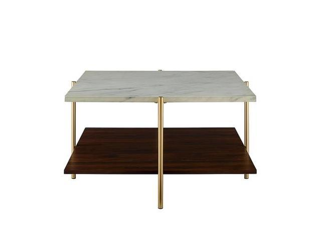 Brilliant Modern Square Coffee Table Faux White Marble Gold Pabps2019 Chair Design Images Pabps2019Com