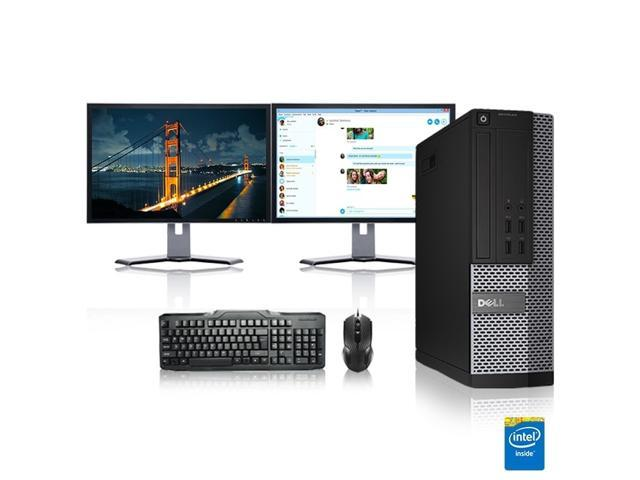 "Dell Optiplex Desktop Computer 2.8 GHz Core 2 Duo Tower PC, 6GB, 500GB HDD, Windows 10 x64, 17"" Dual Monitor , Radeon 128MB DDR2, USB Mouse & Keyboard"