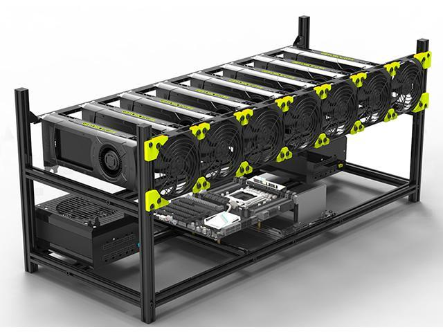 Veddha 8 GPU Mining Rig Aluminum Stackable Case Open Air Frame ETH//ZEC//Bitcoin