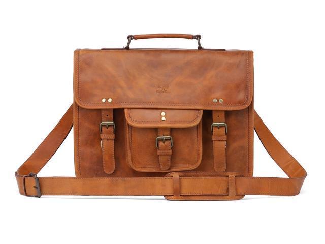 e52873a1b8cf 15 Inch Leather Vintage Rustic Crossbody Messenger Satchel Bag Gift Men  Women ~ Business Work Briefcase Carry Laptop Computer Book Handmade Rugged  & ...