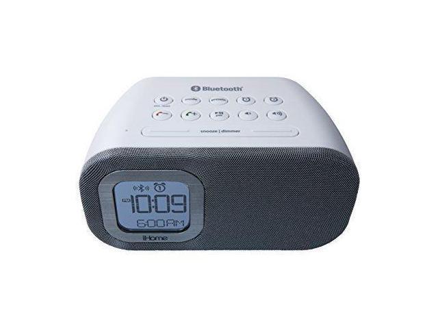 iHome iBT210WS Bluetooth Dual Alarm FM Clock Radio with Speakerphone and  USB Charging, White - Newegg ca