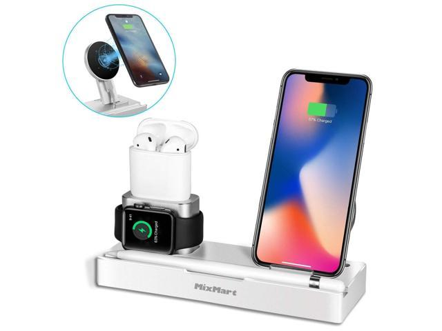 timeless design ab381 0f95a iPhone X Wireless Charger Stand, 6 in 1 Aluminum iPhone 8/8 Plus Charging  Dock for Apple Watch/AirPods/iPad/Apple Pencil, Detachable Wireless Charger  ...