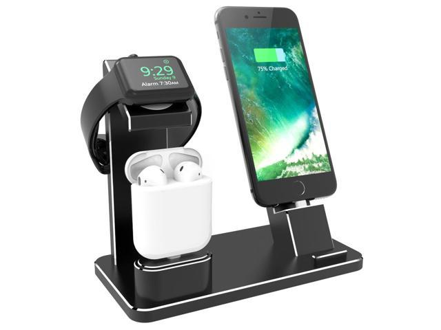 on sale a698e 8bc6f XUNMEJ Watch Stand Compatible for Apple Watch iPhone Charging Dock Aluminum  4 in 1 for AirPods Charging Stand Accessories Station Holder for Apple ...