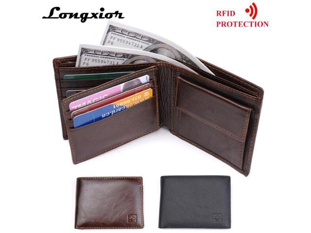 0fc1b19efcc4 LONGXIOR Genuine Leather Men Wallet RFID Blocking Wallet Men Fashion Cow  Leather Purse Identity Protection Men's Wallets MRF7 - Newegg.com