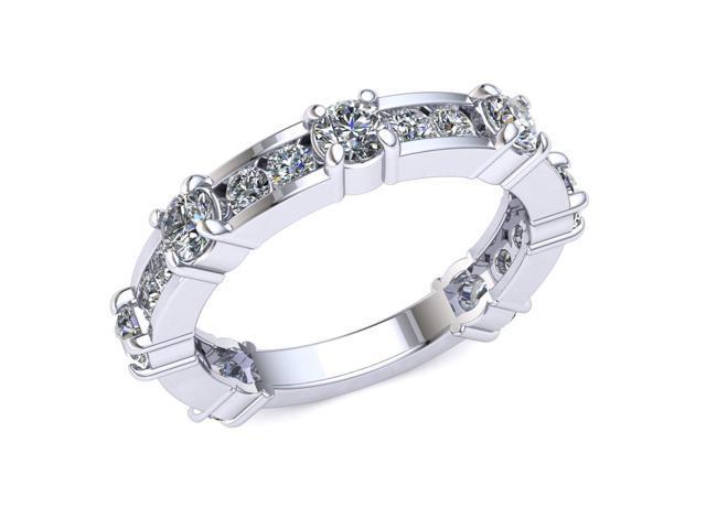 8bafc65058956 1.50 Ct Round Diamond Alternating Prong Channel Wedding Band Women's  Eternity Ring with Sizing Bar 14k White Gold G-H I1 - Newegg.com