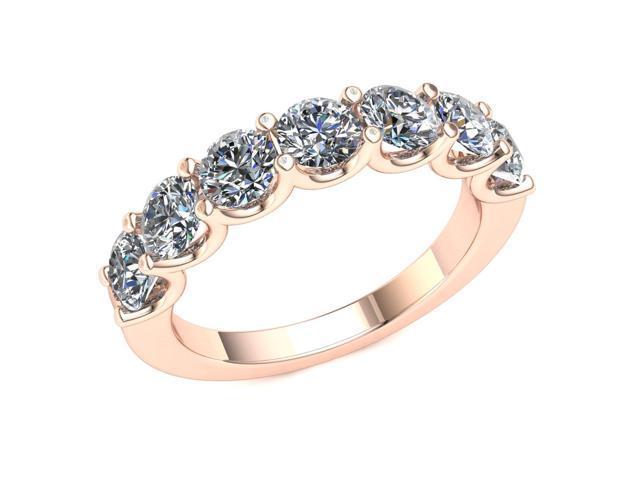f28159d8346 2.10 Ct Round Diamond 2 Row Shared Open 'U' Prong Wedding Band Women's  Anniversary Ring 18k Rose Gold F-G VS2 - Newegg.com